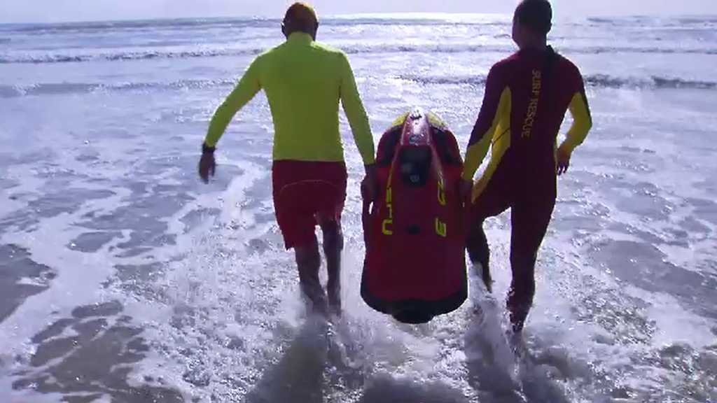 Queensland lifesavers are trialling the SeaBob water scooters. (9NEWS)