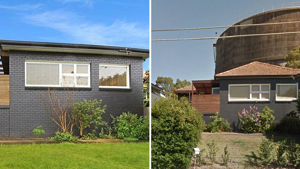 Spot the difference. A real estate agency has been accused of editing a photo with photoshop (left) so a large water tour was not visible in promotional images of a house for sale.  (Supplied)