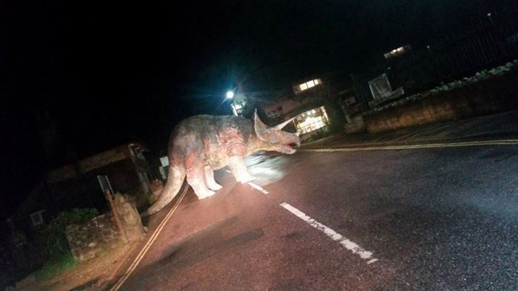 Drunken thieves allegedly responsible for giant model triceratops left on the road