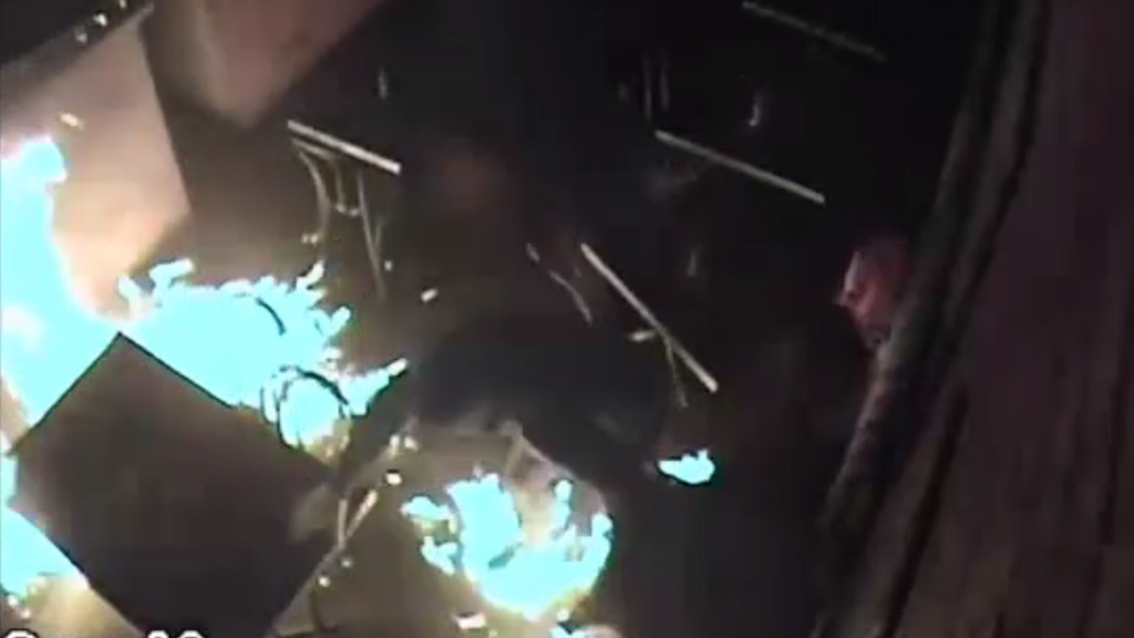 An arsonist set his own shoes on fire at a Richmond cafe. (Victoria Police)
