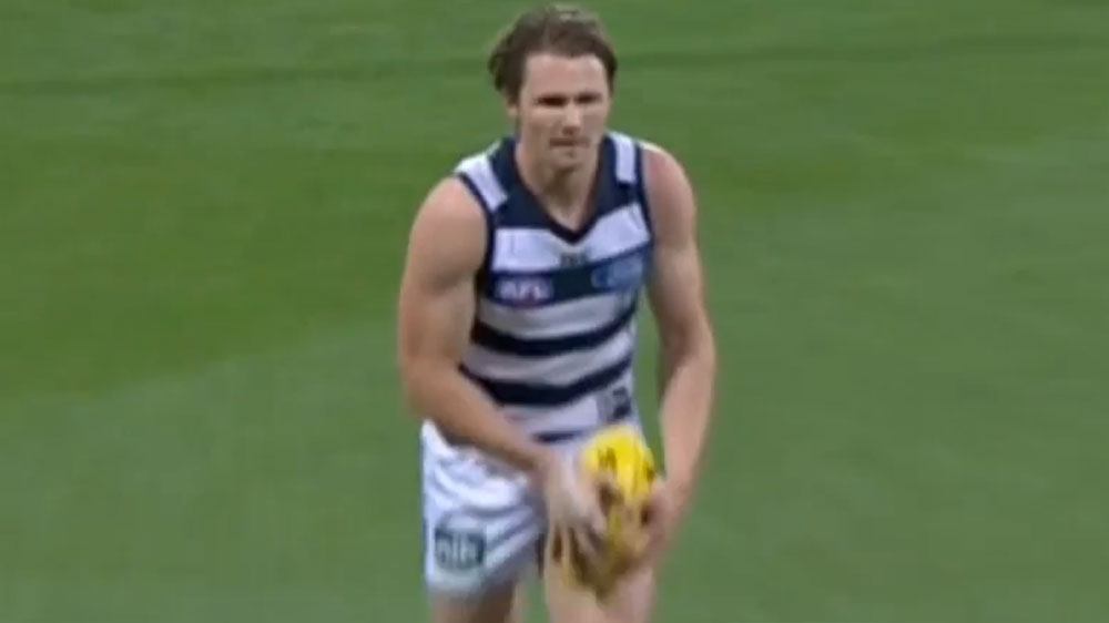 Patrick Dangerfield boots one of his three goals.