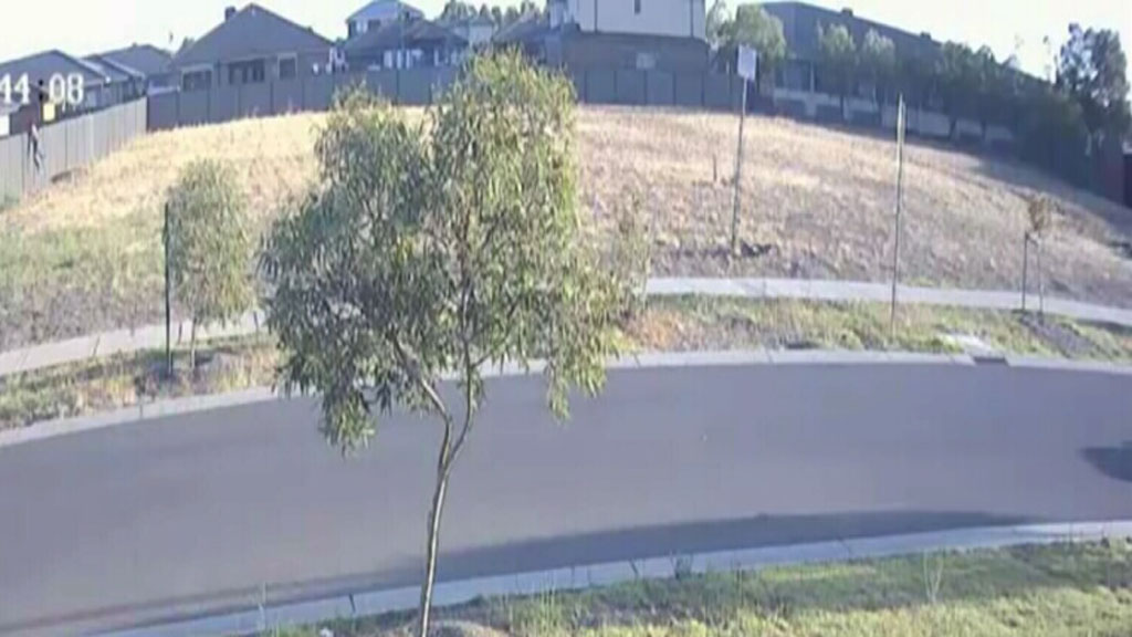 The offender (top left) was captured on video leaping over a fence after the attack. (Victoria Police)