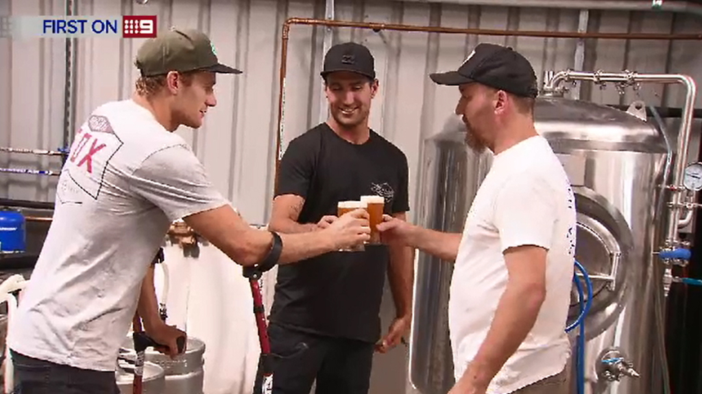 Bede Durbidge, Joel Parkinson and head brewer Scott Hargrave. (9NEWS)