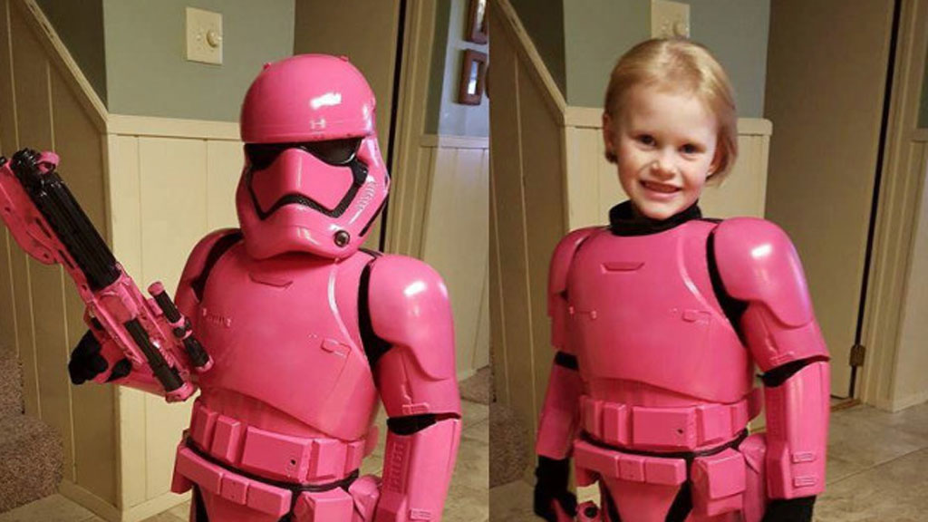 Dad creates awesome pink stormtrooper costume for his daughter