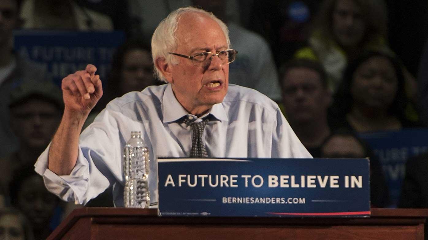 Bernie Sanders speaks at a rally in Massachusetts. (AAP)