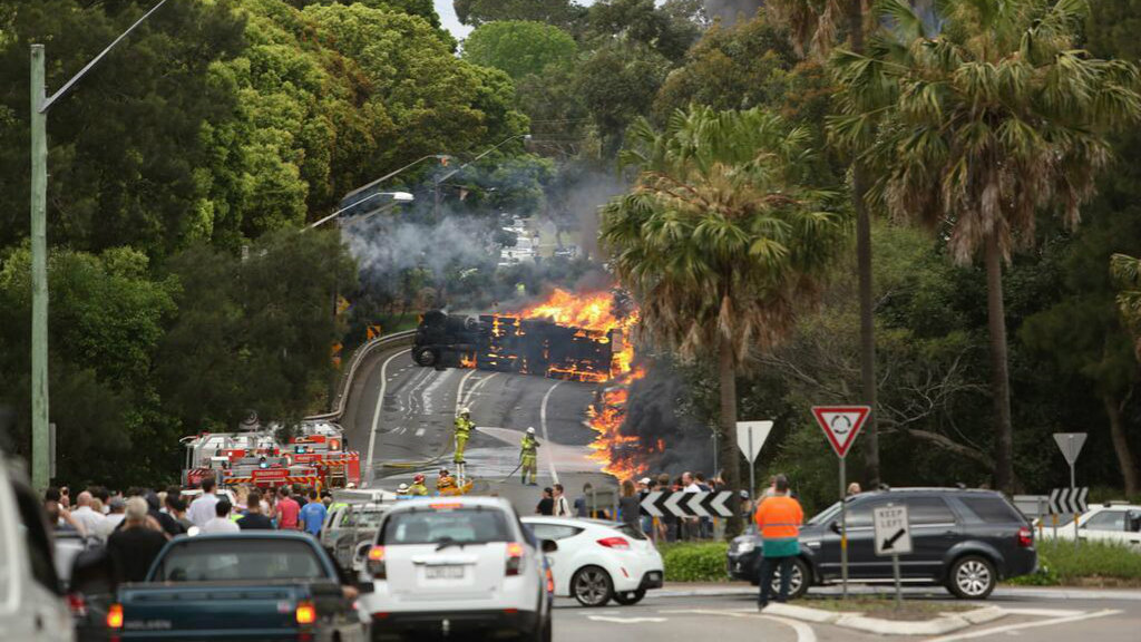 Truckie found guilty of negligent driving over fatal Sydney crash inferno