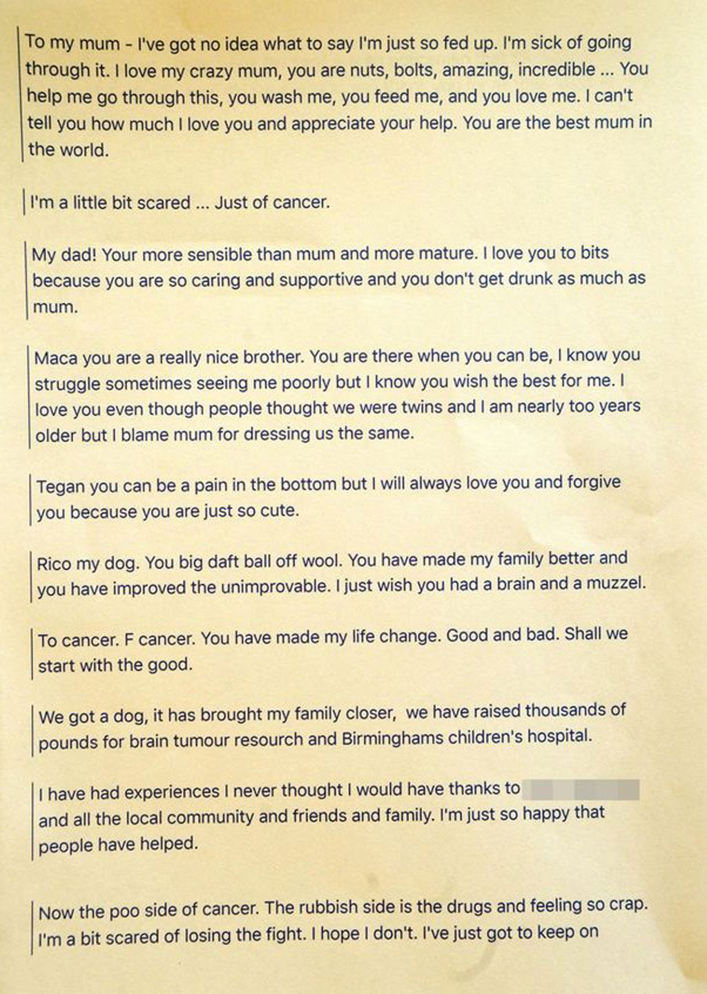 Part of  Finlay's heartfelt letter. (Supplied)