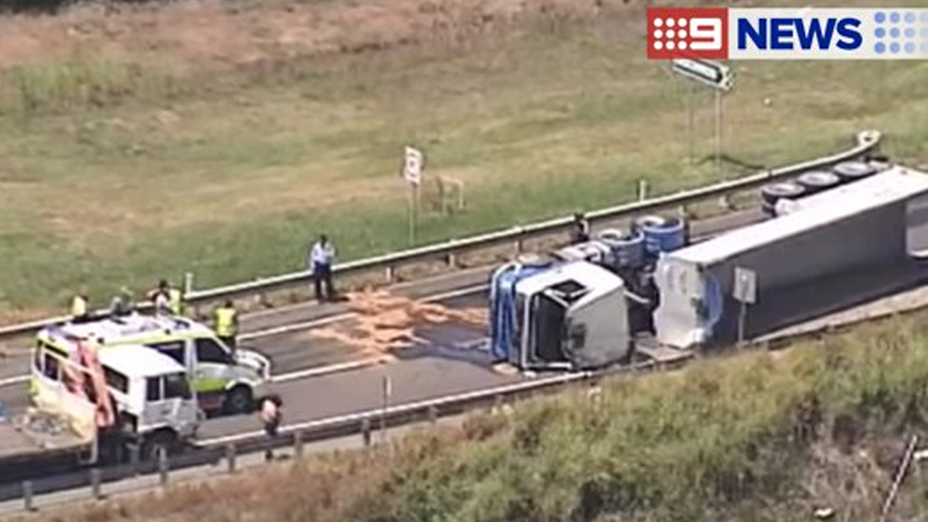 Truck rollover blocking road at Woongoolba, near Jacobs Well on the Gold Coast
