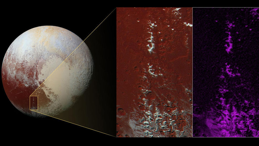 <p>NASA have released data from the New Horizons spacecraft which shows snow-capped mountains in Cthulhu, the prominent dark brown feature on Pluto's surface.<br /><br />The snow is likely to be frozen methane, New Horizons scientists believe. They suspect that methane on Pluto may act like water does in Earth's atmosphere, condensing at high altitudes. (NASA)<br /><strong><br />Click through for more images from the New Horizons spacecraft.</strong></p>
