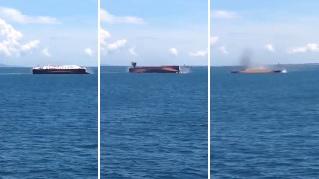 A Youtube video claims to show footage of the ferry capsizing off  Bali. (Youtube / Dans)