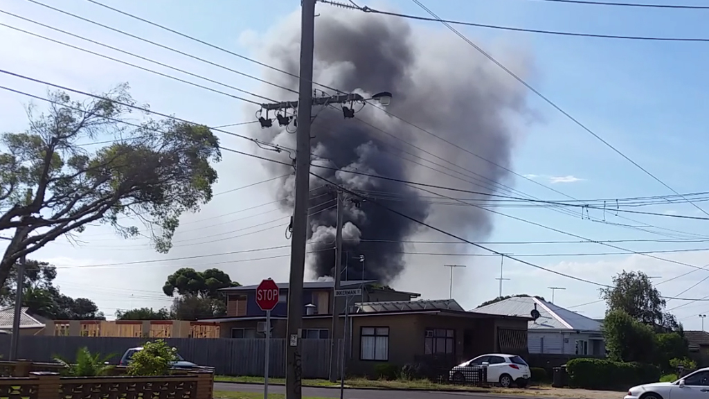 Black smoke billows from North Geelong warehouse fire