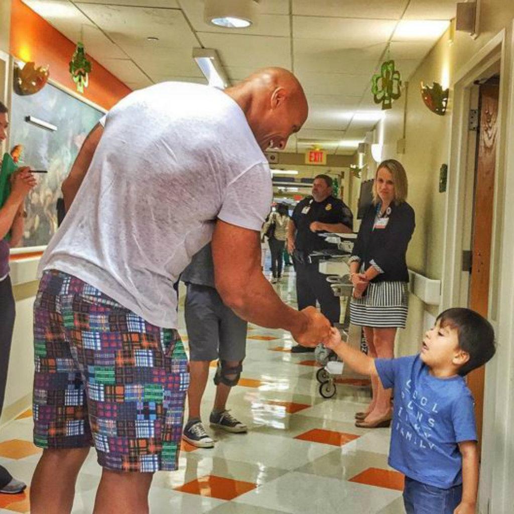 Johnson meets young fan Aiden. (Instagram)