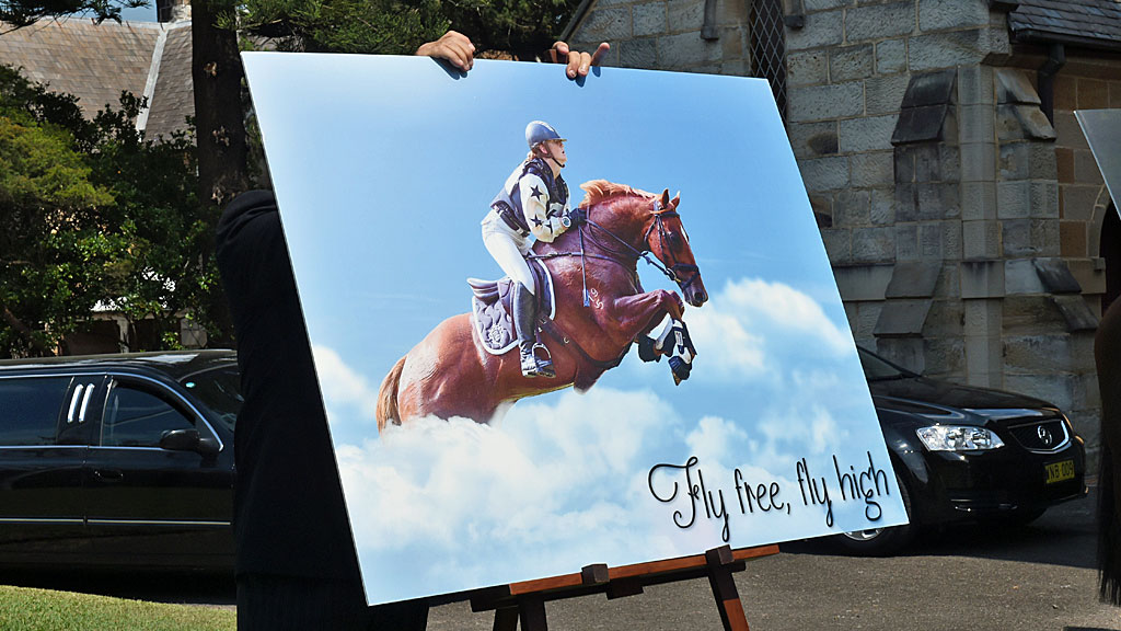 A photograph is seen at the funeral service for equestrian rider Olivia Inglis at St Jude's Church Randwick, Sydney. (AAP)