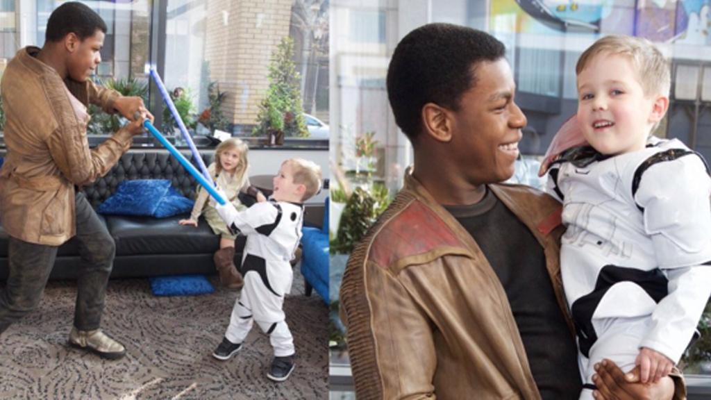 Star Wars actor John Boyega dresses up as Finn to visit sick children in hospital