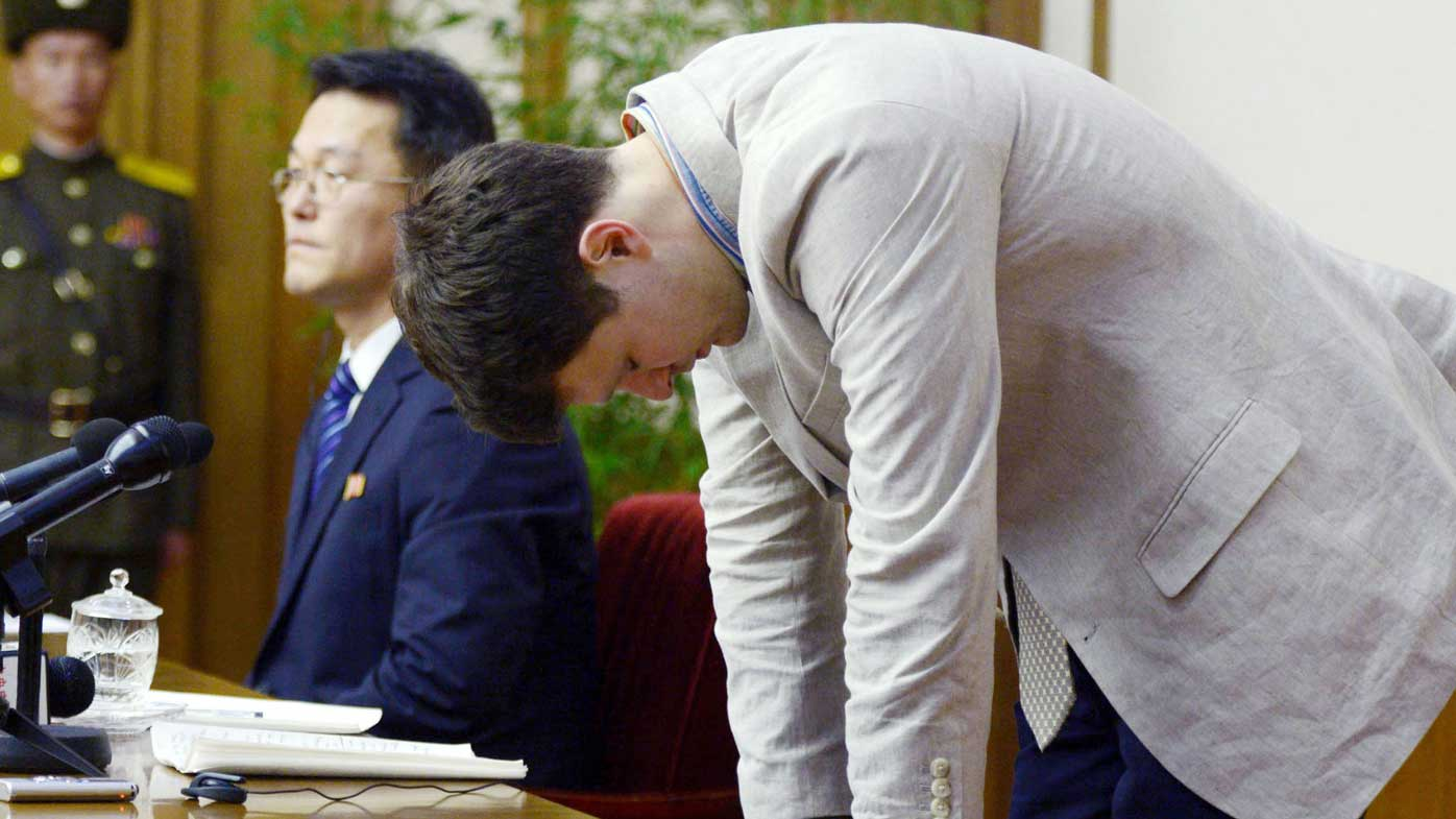 Otto Warmbier bows his head in apology during a press conference last month. (AAP)