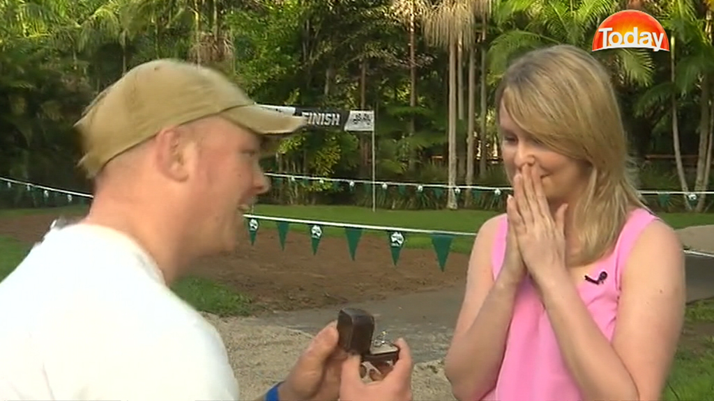 Owen Morgan surprised his girlfriend with the proposal after carrying the ring around for more than three months. (9NEWS)