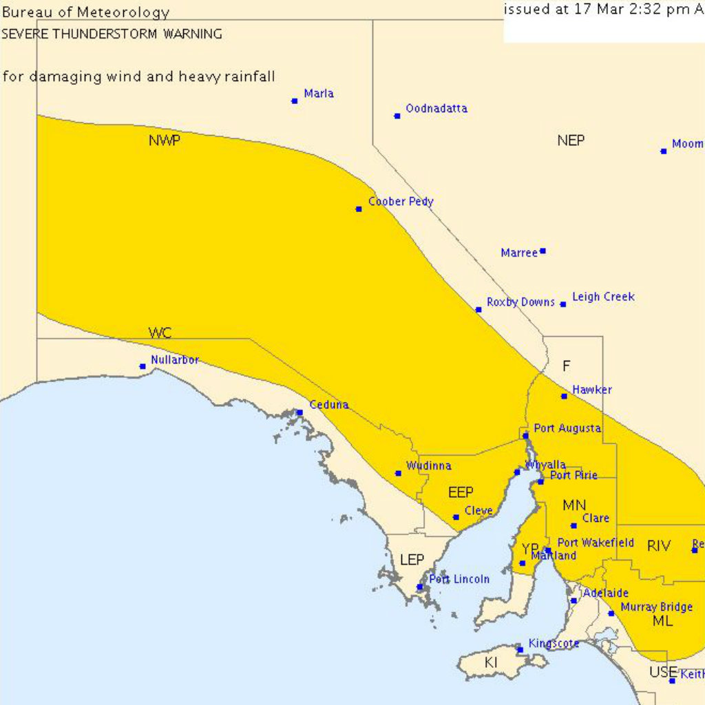The warning area. (Bureau of Meteorology)