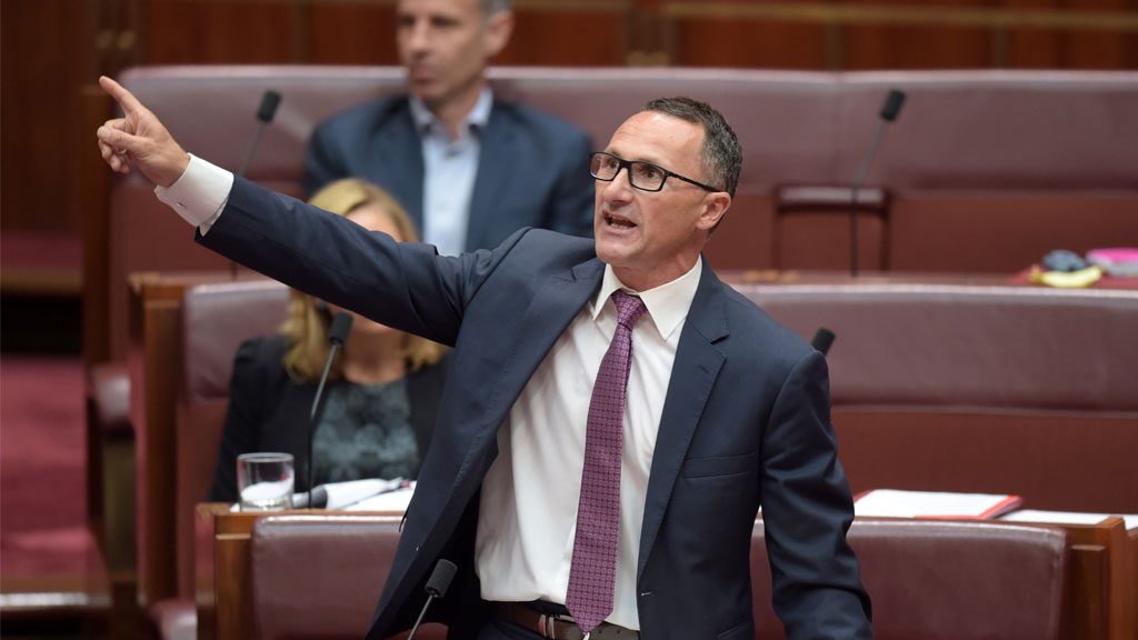 Australian Greens leader Richard Di Natale speaks in the Senate. (AAP)
