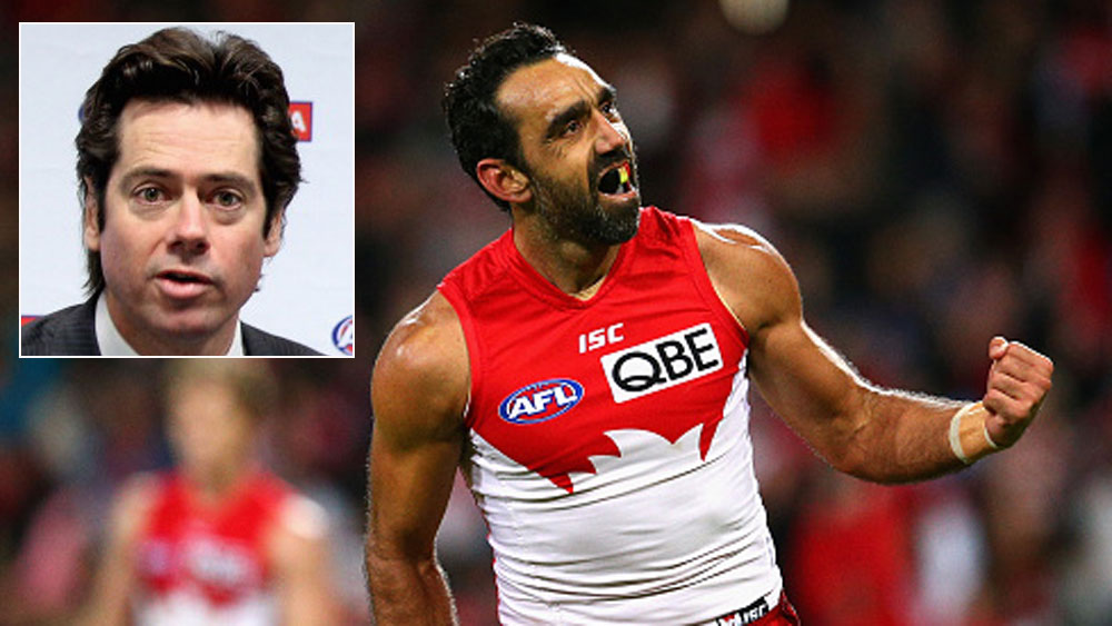 AFL boss Gillon McLachlan (inset) would like to see Adam Goodes working in the AFL.