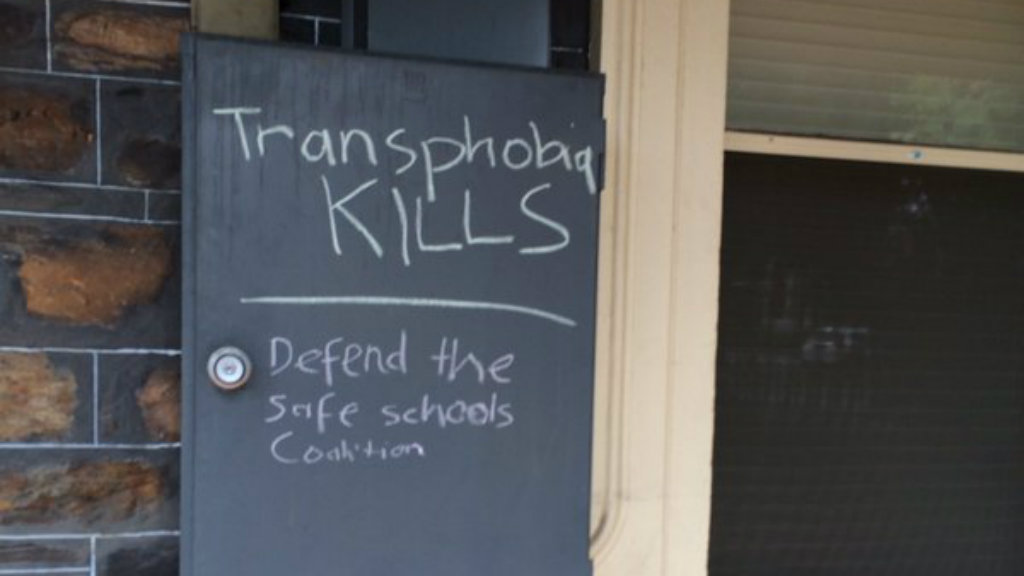 """Transphobia kills"": a slogan scrawled on Mr Bernardi's office. (Tracy Alexander/9NEWS)"