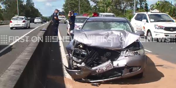 The woman left the scene of a car crash on the Gold Coast. (9NEWS)