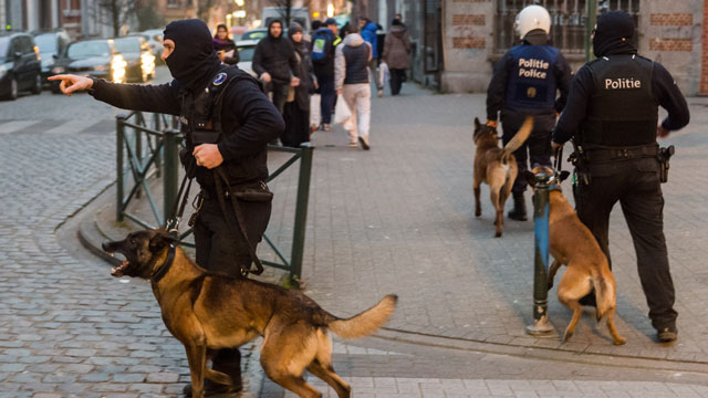 Police officers with dogs during a raid in the Molenbeek neighborhood of Brussels. (AAP)