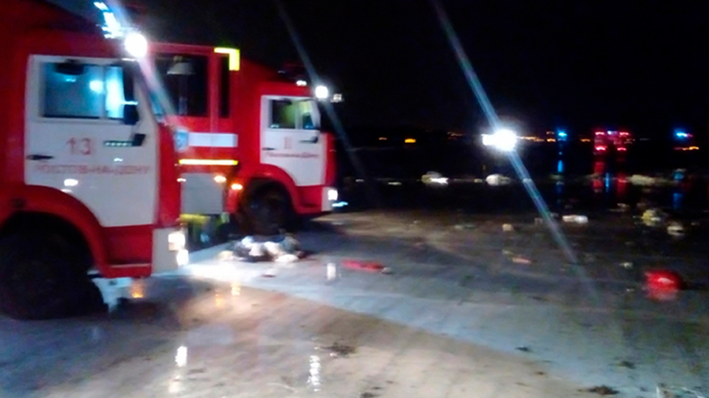 The crash scene at Rostov-on-Don airport. (AAP)