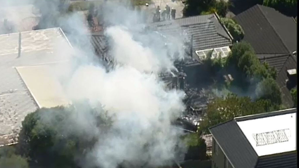 Abandoned house destroyed in fire east of Melbourne