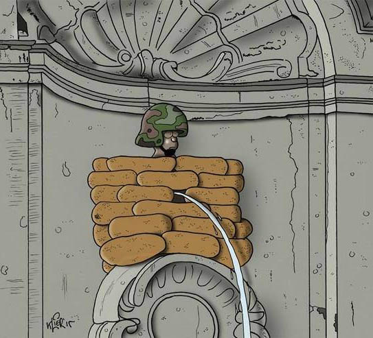 This cartoon by Klier depicts Brussels' famous 'Mannekin Pis'.