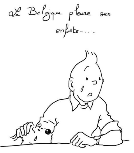 'Belgium is crying for its children', reads this cartoon by French librarian Bernard Mnich.