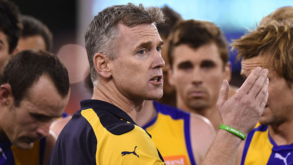 Adam Simpson addresses his players. (Getty)