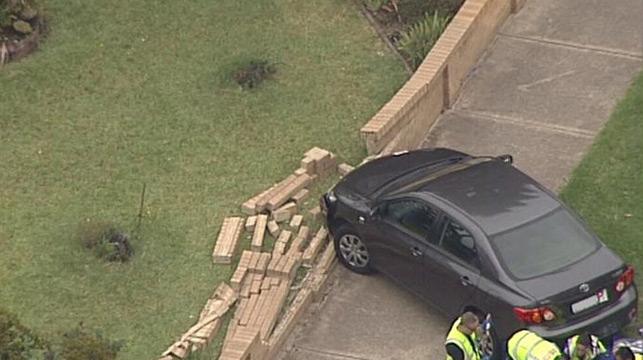 The car crashed into a brick wall. (9NEWS)