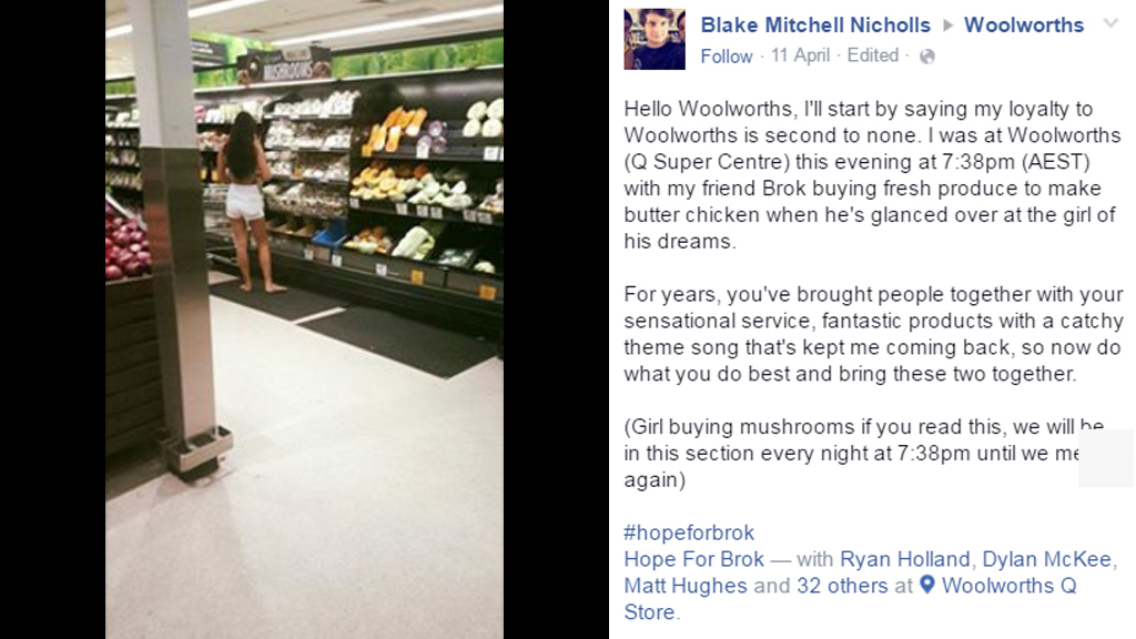 Quest for love in Woolworths may be over after social media storm