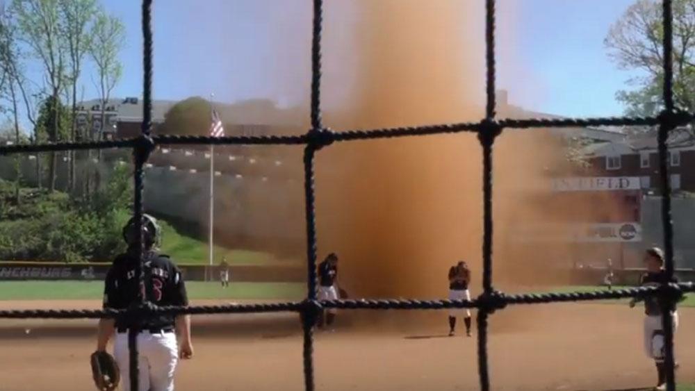 'Dust devil' interupts softball game