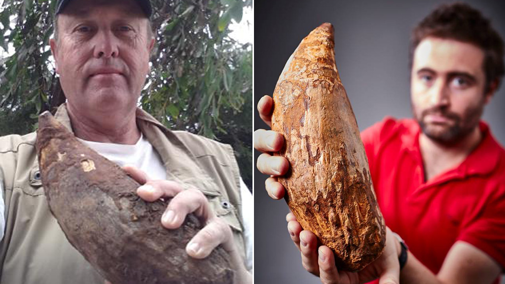 Murray Orr (left) with his find, which has been donated to Museum Victoria. (Supplied/Museum Victoria)