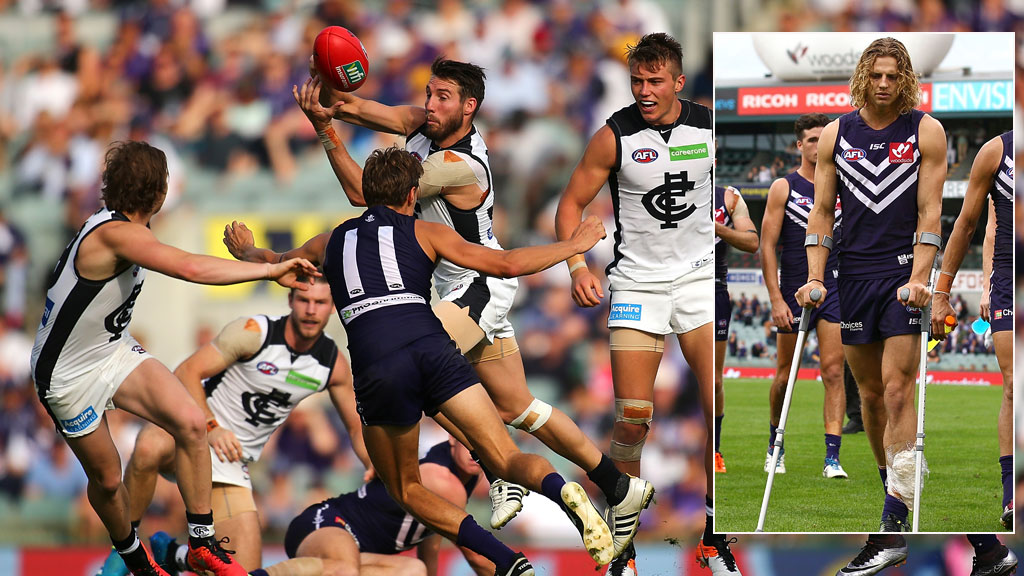 Fyfe injured as Blues stun Dockers