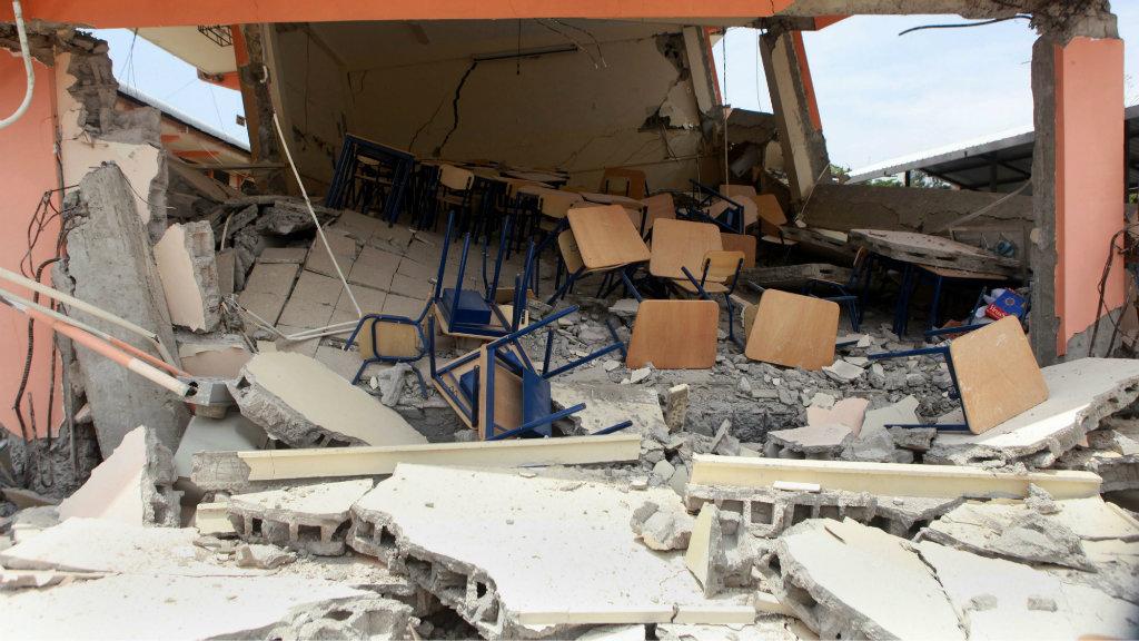 Earthquake damage in Manabi, Ecuador. (AAP)