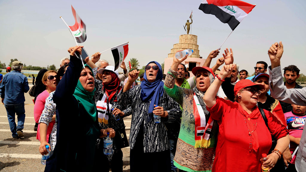 Protesters peacefully exit after sit-in in Baghdad's Green Zone