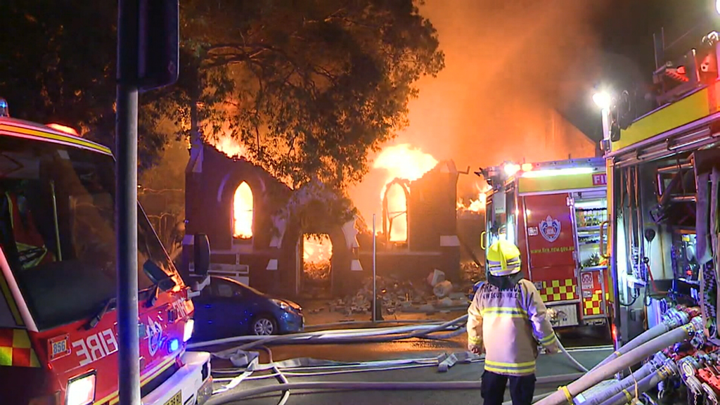 The fire started shortly after an evening mass. (9NEWS)