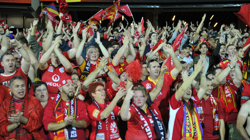 Adelaide United fans after the win. (AAP/David Mariuz)