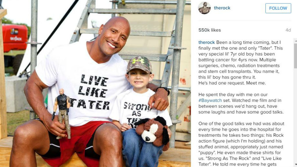 Young boy with cancer receives his wish to meet The Rock