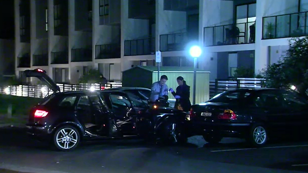 Police followed the allegedly stolen Audi A3 to a Burwood car park. (9NEWS)