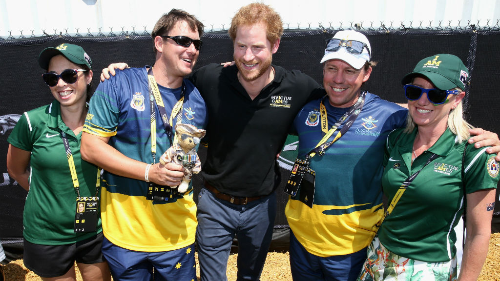 With Australians during the Jaguar Land-Rover driving challenge at the games. (Chris Jackson/Getty/AFP)
