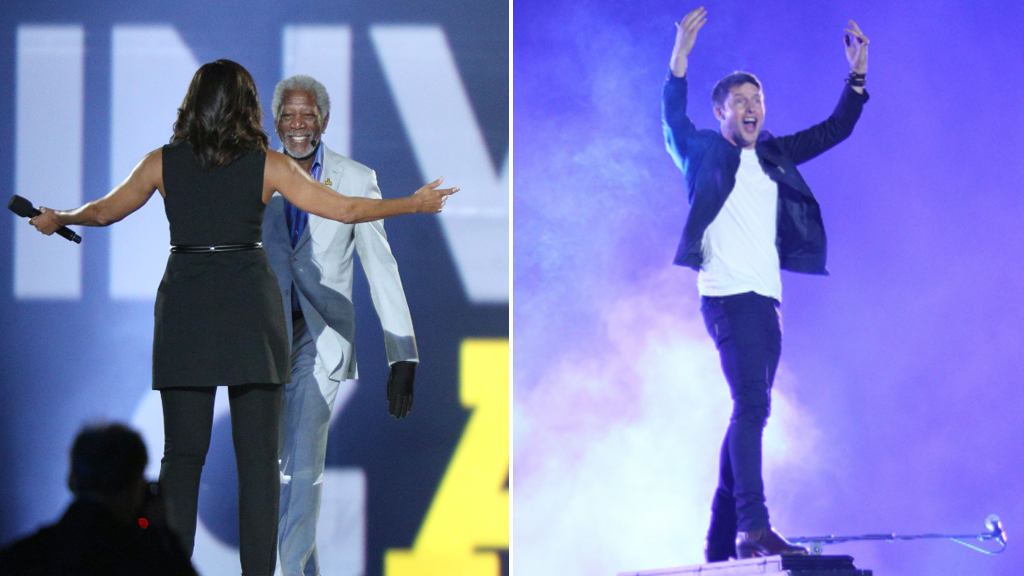 Michelle Obama, Morgan Freeman and James Blunt starred in the Invictus Games opening ceremony. (AFP)