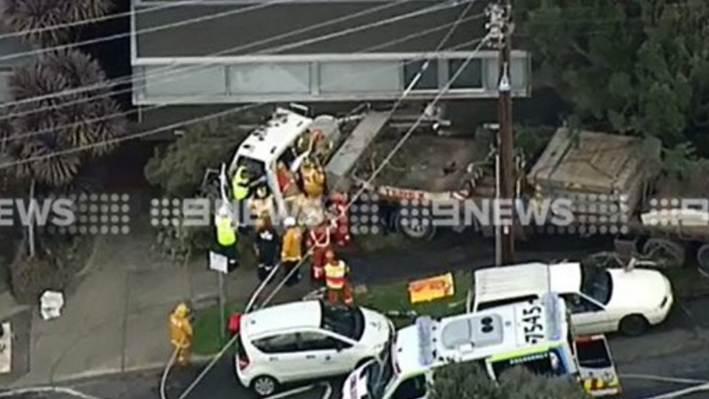 Driver trapped for three hours after truck crashed into Lorne house