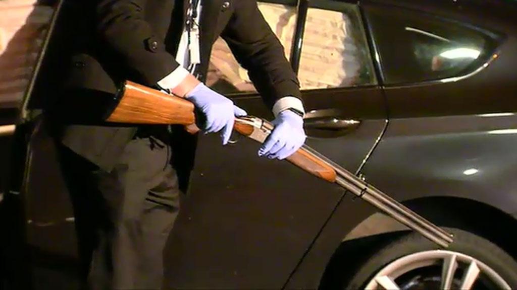 Police found a gun on the passenger seat. (9NEWS)