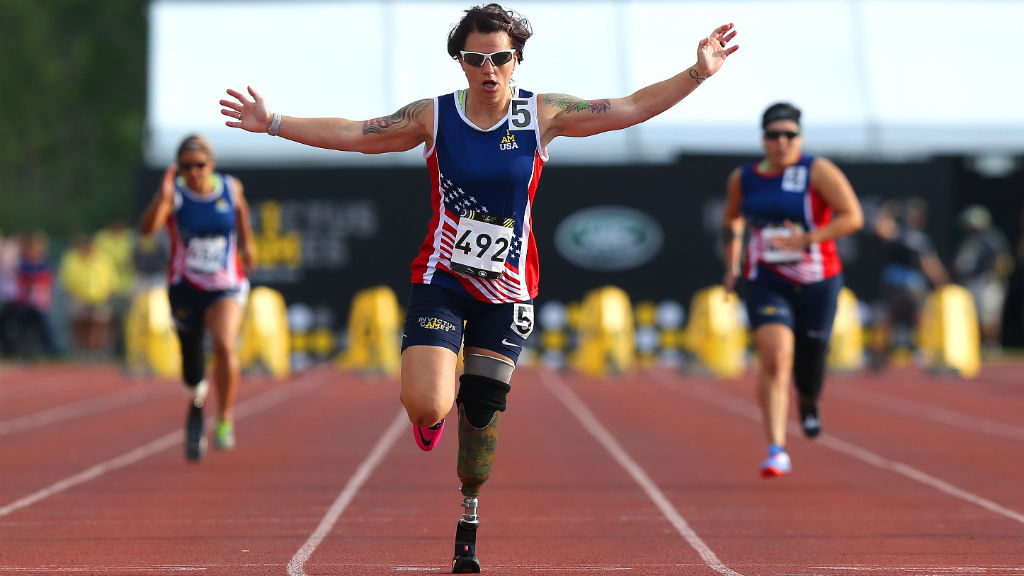Taking out first place in the 100m sprint. (Alex Menendez/ Getty Images for Invictus Games/AFP)