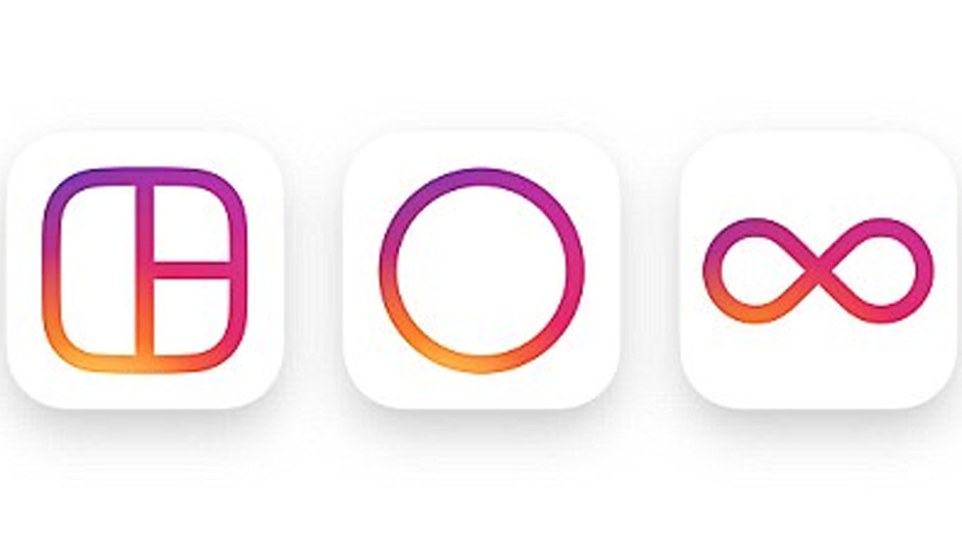 Instagram's new icons for Layout, Hyperlapse and Boomerang.