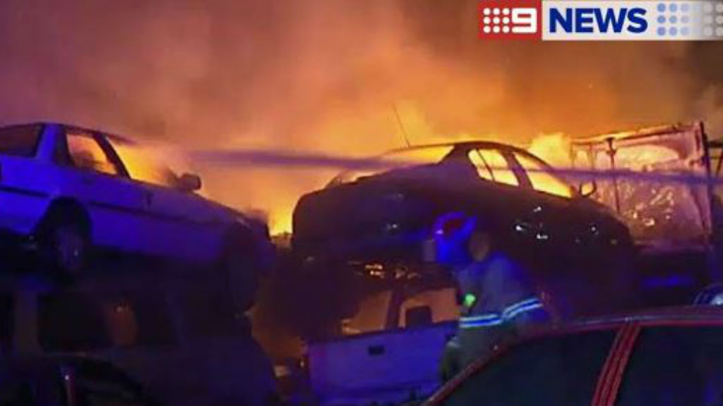 Wrecked cars torched in Victoria