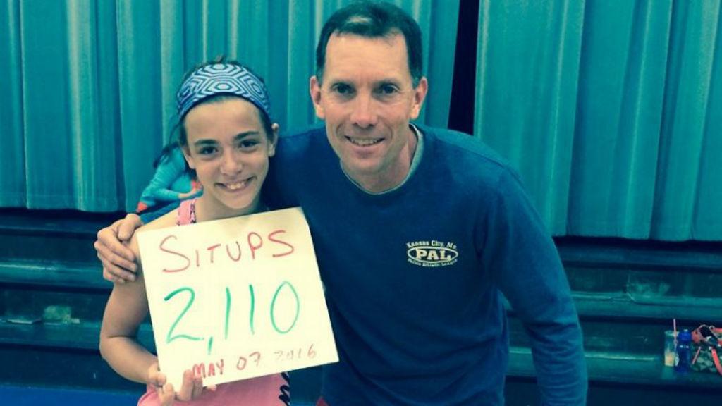 Kyleigh Bass set a new national record of 2,110 sit-ups. (Facebook)